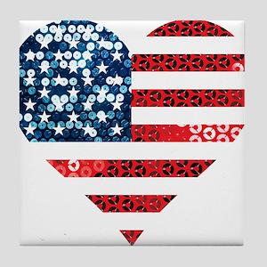 usa flag heart Tile Coaster