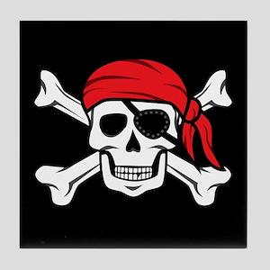 Jolly Roger Pirate (on Black) Tile Coaster