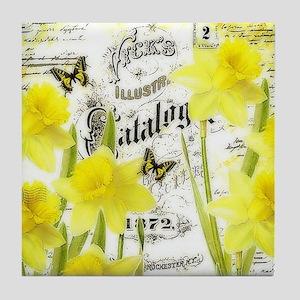 Vintage daffodils Tile Coaster