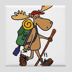 Moose Hiking Tile Coaster