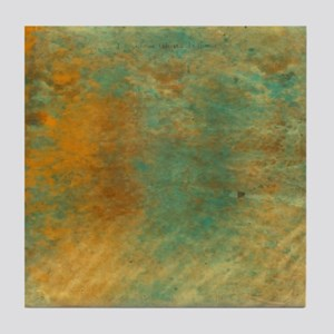 Abstract in Turquoise and Copper Tile Coaster