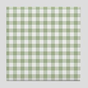 Sage Green Gingham Checked Pattern Tile Coaster