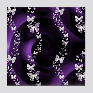 Purple Butterfly Swirl Tile Coaster
