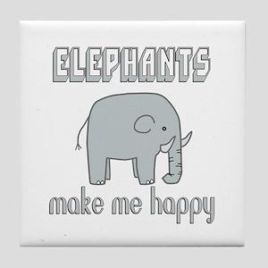 Elephants Make Me Happy Tile Coaster