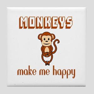 Monkeys Make Me Happy Tile Coaster