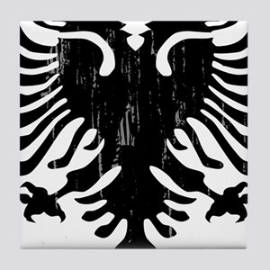 albania_eagle_distressed Tile Coaster