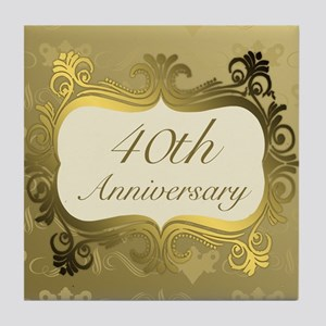 Fancy 40th Wedding Anniversary Tile Coaster