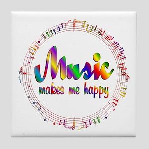 Music Makes Me Happy Tile Coaster