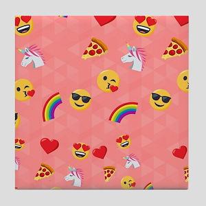 Emoji Pink Pattern Tile Coaster