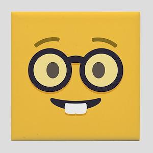 Nerdy Emoji Face Tile Coaster