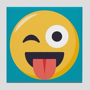 Winky Tongue Emoji Tile Coaster