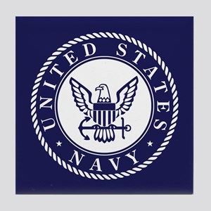 US Navy Emblem Blue White Tile Coaster
