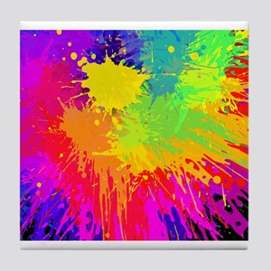 Colourful paint splatter Tile Coaster