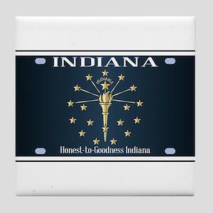 Indiana Flag License Plate Tile Coaster