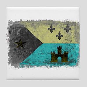 Vintage Grunge Acadian Flag Tile Coaster