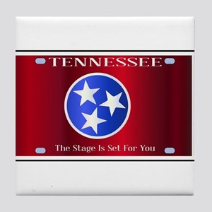 Tennessee State License Plate Flag Tile Coaster