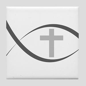 jesus fish_reverse Tile Coaster