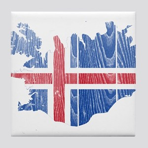 Iceland Flag And Map Tile Coaster