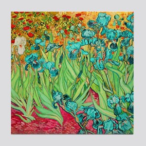 van gogh teal irises Tile Coaster