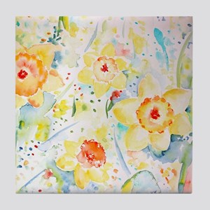 Watercolor yellow flowers daffodils p Tile Coaster