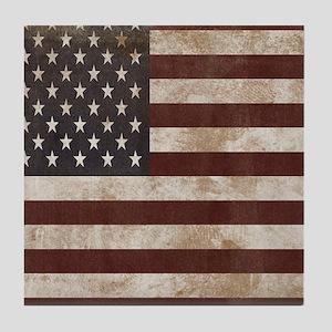 Vintage American Flag King Duvet 1 Tile Coaster