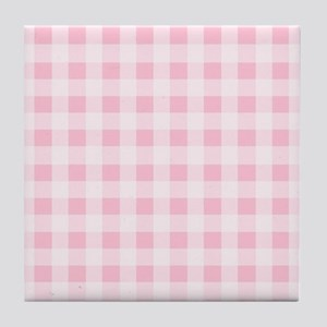 Pink Gingham Checkered Pattern Tile Coaster