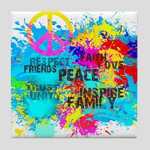 Splash Words of Good Peace Tile Coaster