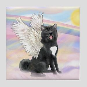 Black Akita Angel Tile Coaster