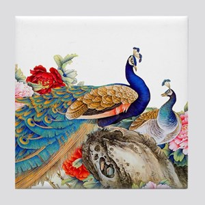 Traditional Chinese Peacocks Tile Coaster