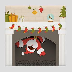 black santa stuck in fireplace Tile Coaster