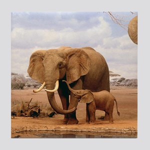 Family Of Elephants Tile Coaster