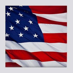 United States Flag in All Her Glory Tile Coaster