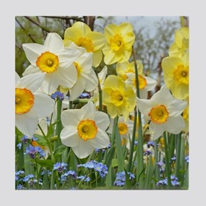 White and yellow daffodils Tile Coaster