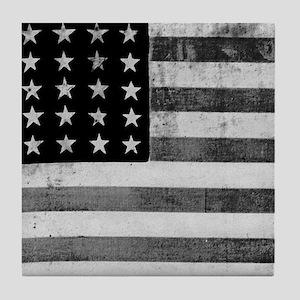 American Vintage Flag Black and White Tile Coaster
