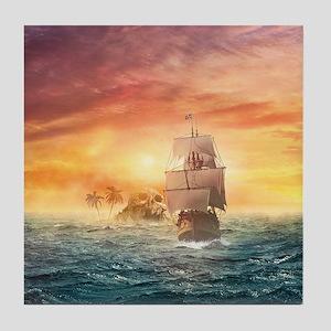 Pirate ship Tile Coaster