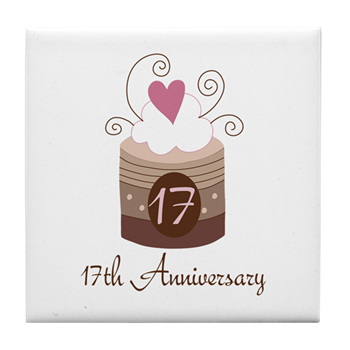 17th Anniversary Cake Tile Coaster 17th Anniversary Cake Gifts And Shirts Cute Anniversary T Shirts