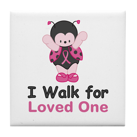 Walk For Ladybug Tile Coaster