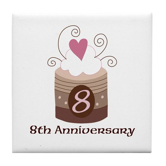 8th Anniversary Cake Tile Coaster By Homewiseshopper Cafepress