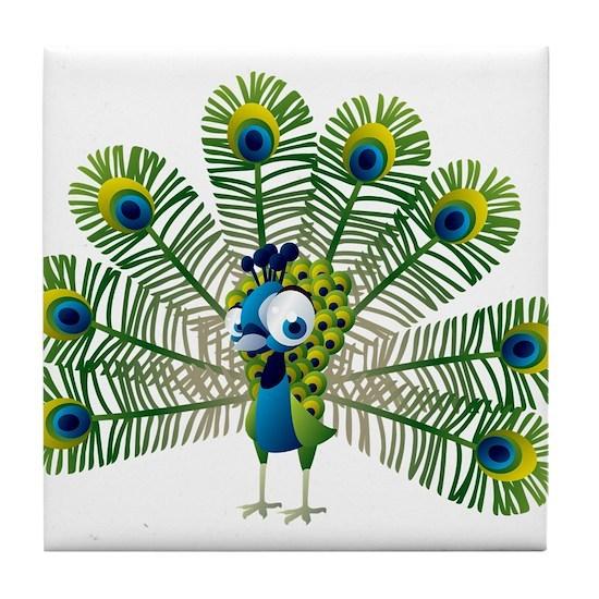 beautiful peacock cartoon tile coaster by admin cp134979268 cafepress beautiful peacock cartoon tile coaster