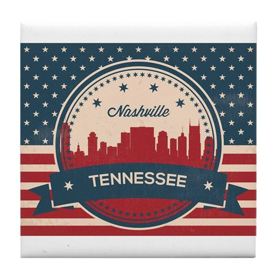 Retro Nashville Tennessee Skyline