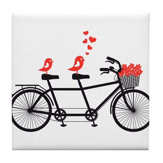 tandem bicycle with cute love birds, vector