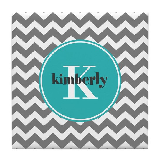 Gray Chevron with Teal Monogram