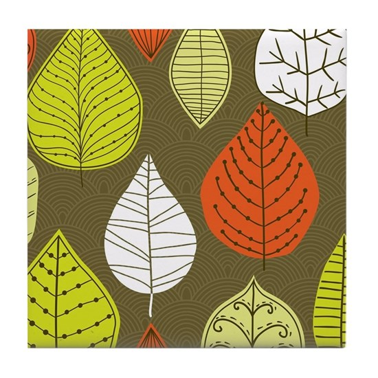 Leaves on Green Mid Century Modern