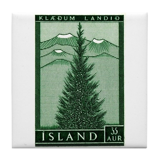 1957 Iceland Spruce with Volcanoes Stamp