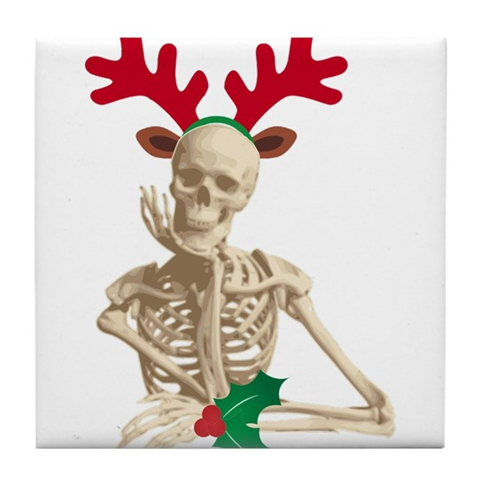 Christmas Skeleton.Skeleton Nightmare Christmas Tile Coaster