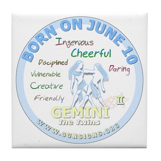 June 10th Birthday - Gemini Personali Tile Coaster