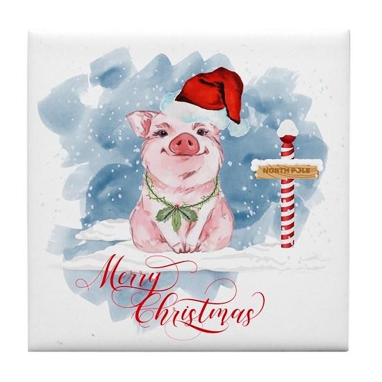 Christmas Pig.Merry Christmas Pig North Pole Tile Coaster