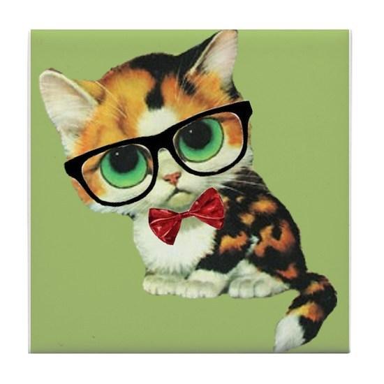 ba0eba14d04aa Hipster Cat Big Eyed Kawaii Kitten With Eyeglasses by fringepop - CafePress