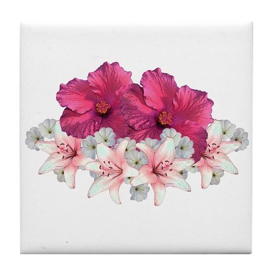 Hibiscus Arrangement Tile Coaster By Saltypro Cafepress