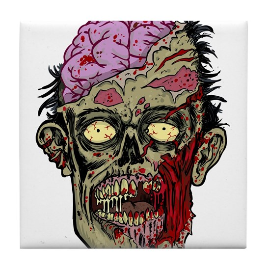 GREEN ZOMBIE HEAD WITH BRAINS--ROTTEN!!